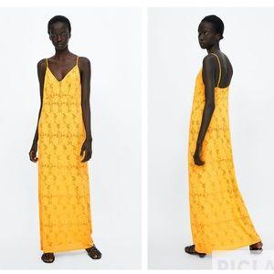 Zara yellow structured lace dress